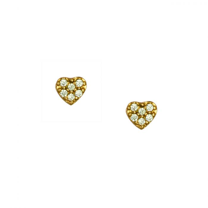 SKU-52578 / Σκουλαρίκια Καρδιά Χρυσός Κ14 με Ζιργκόν