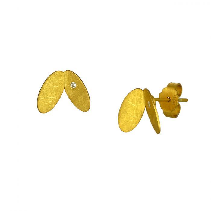 SKU-52641 / Σκουλαρίκια Φύλλα Χρυσός Κ14 με Ζιργκόν