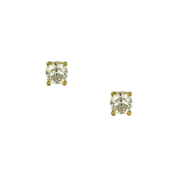 SKU-52898 / Σκουλαρίκια Μονόπετρο Χρυσός Κ9 με Ζιργκόν