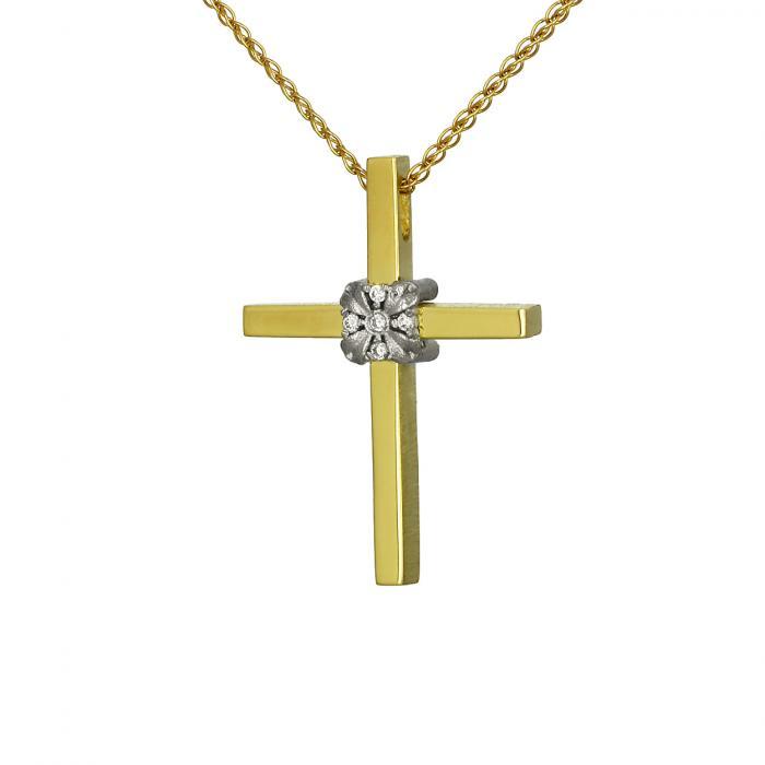 SKU-52957 / Σταυρός Τριάντος Χρυσός & Λευκόχρυσος Κ14 με Ζιργκόν