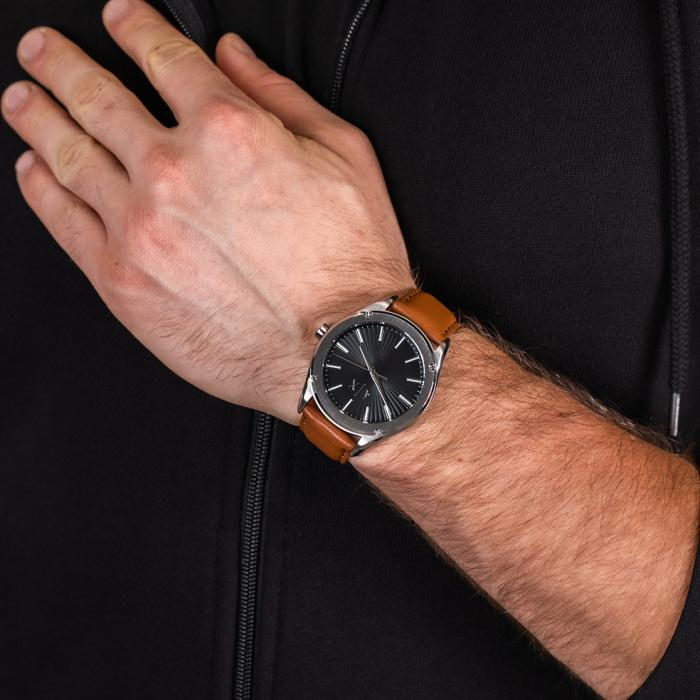 ARMANI EXCHANGE Fitz Brown Leather Strap