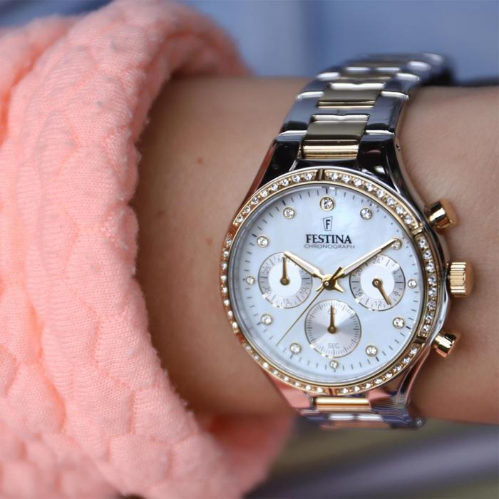 SKU-53799 / FESTINA Chronograph Crystals Two Tone Stainless Steel Bracelet