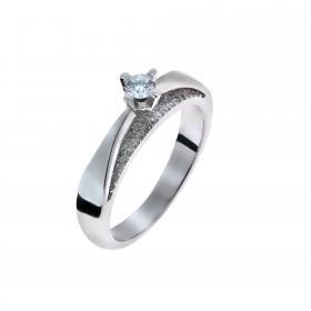 Μονόπετρο Δαχτυλίδι Λευκόχρυσος Κ18 με Διαμάντια SKU-53120