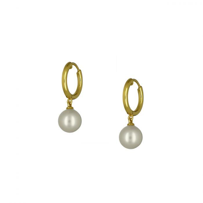 SKU-53050 / Σκουλαρίκια Κρίκοι Χρυσός Κ14 με Μαργαριτάρια