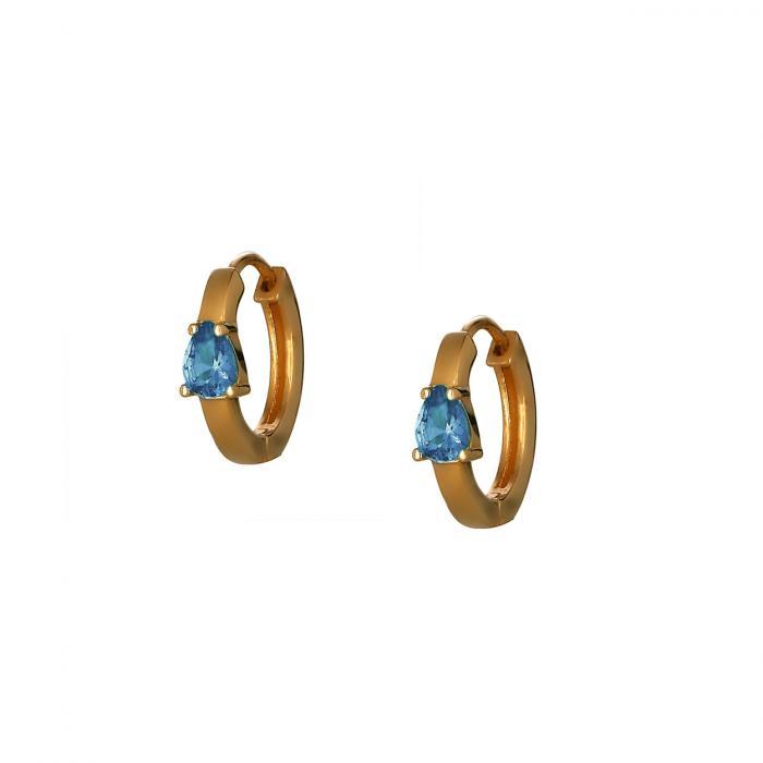 SKU-53074 / Σκουλαρίκια Κρίκοι Ροζ Χρυσός Κ9 με Ζιργκόν