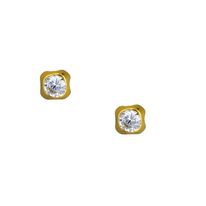 SKU-53598 / Σκουλαρίκια Καρφωτά Χρυσός Κ9 με Ζιργκόν