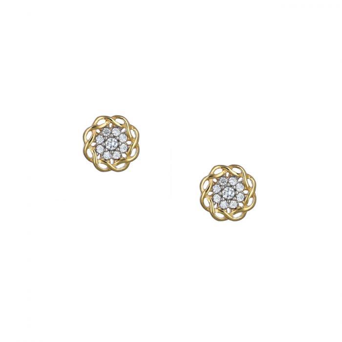 SKU-53600 / Σκουλαρίκια Λουλούδι Χρυσός Κ9
