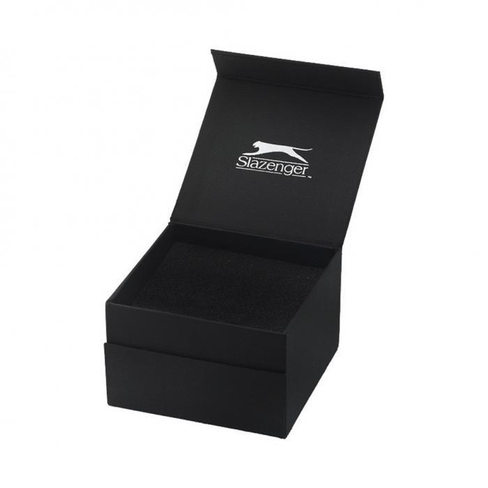 SLAZENGER Dual Time Black Stainless Steel Bracelet
