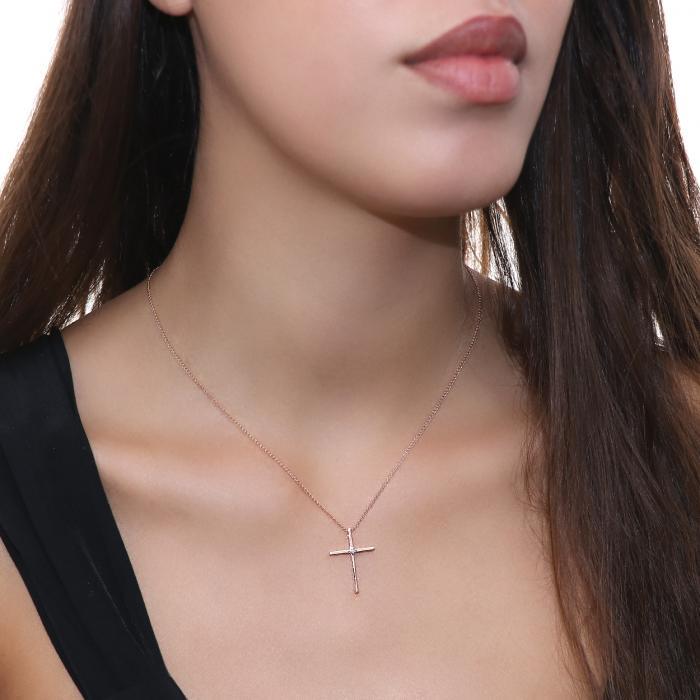 SKU-53046 / Σταυρός Χειροποίητος Ροζ Χρυσός Κ14 με Διαμάντι
