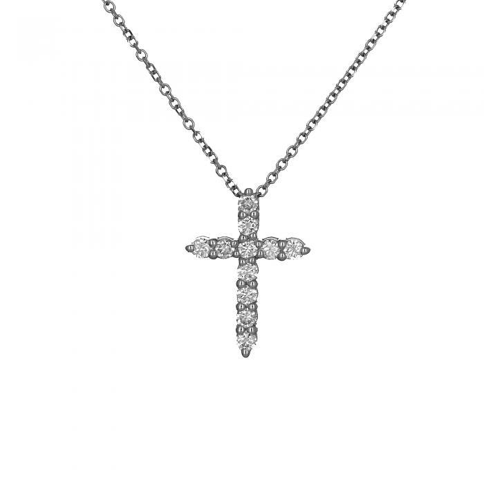 SKU-53990 / Σταυρός Λευκόχρυσος Κ18 με Διαμάντια