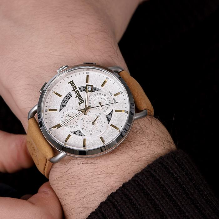TIMBERLAND Lindenwood Dual Time Brown Leather Strap