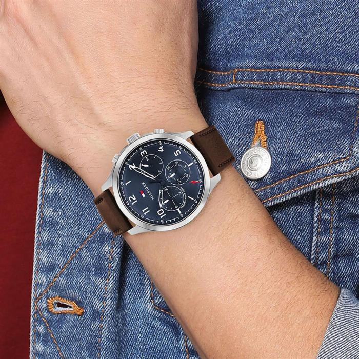 TOMMY HILFIGER Asher Brown Leather Strap