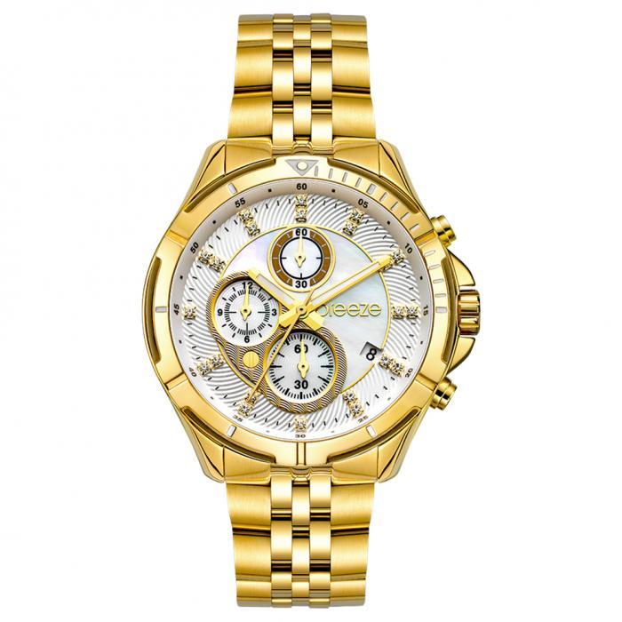SKU-54398 / BREEZE Empressa Crystals Chronograph Gold Stainless Steel Bracelet