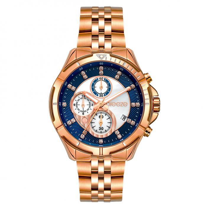 SKU-54399 / BREEZE Empressa Crystals Chronograph Rose Gold Stainless Steel Bracelet
