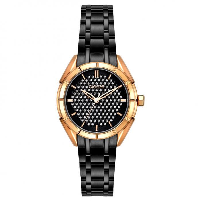 SKU-54395 / BREEZE Gemstonia Crystals Black Stainless Steel Bracelet