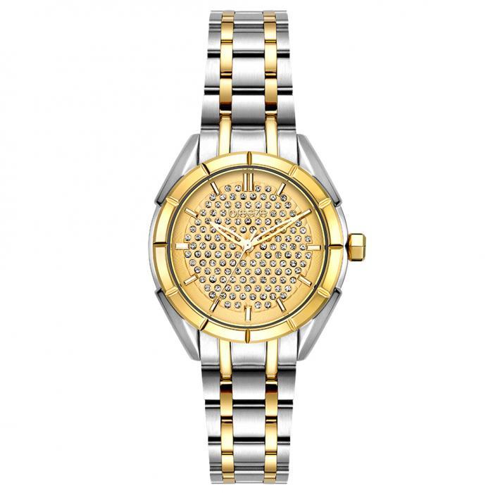 SKU-54378 / BREEZE Gemstonia Crystals Two Tone Stainless Steel Bracelet
