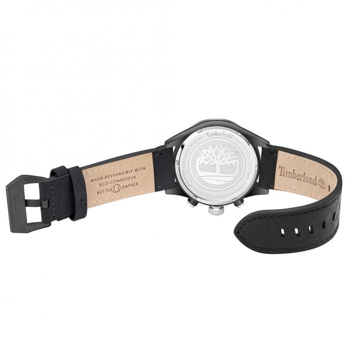 TIMBERLAND Tidemark Dual Time Black Leather Strap
