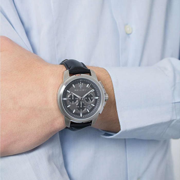 MASERATI Successo Chronograph Black Leather Strap